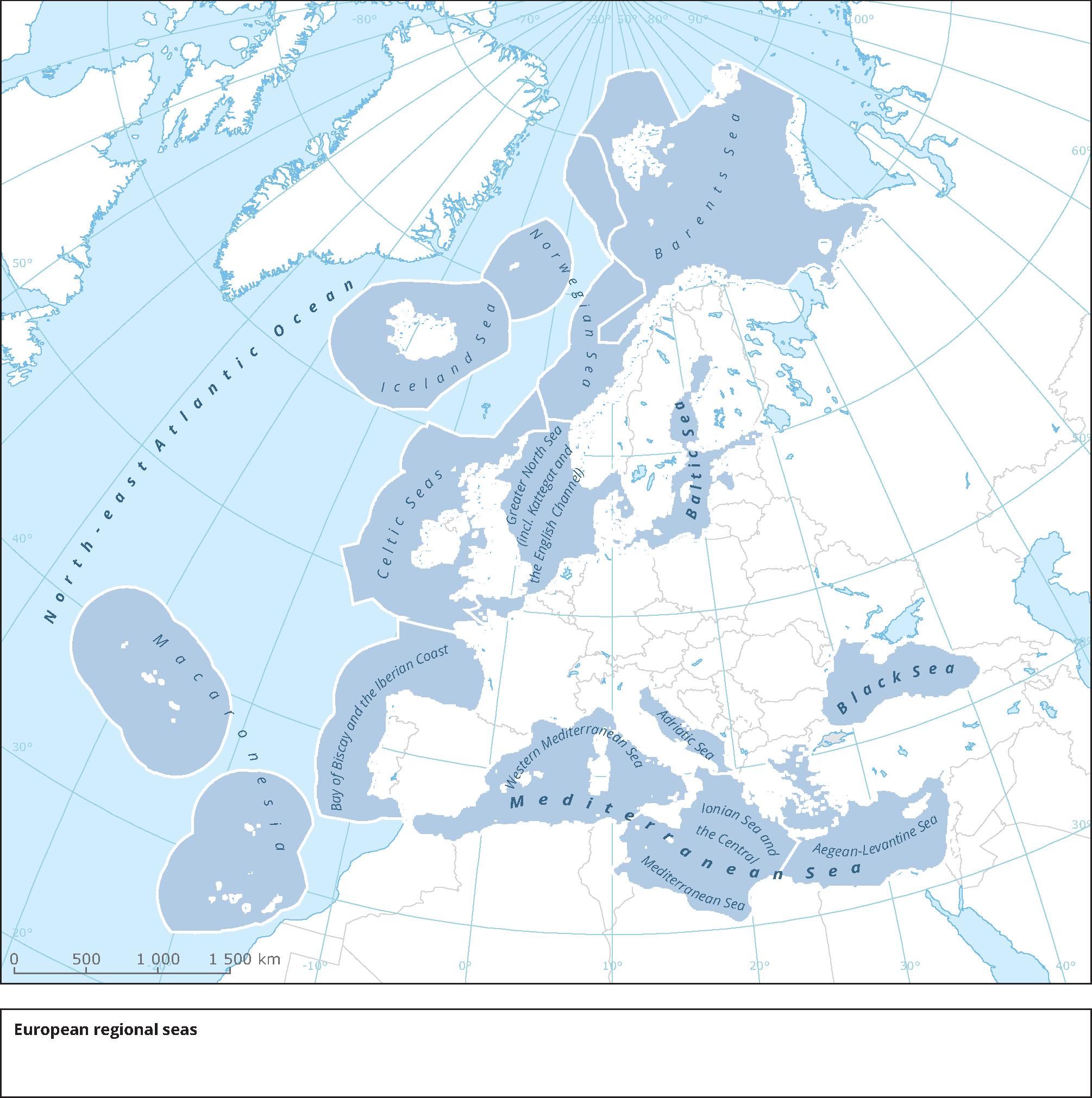 map of seas in europe Regional seas surrounding Europe — European Environment Agency