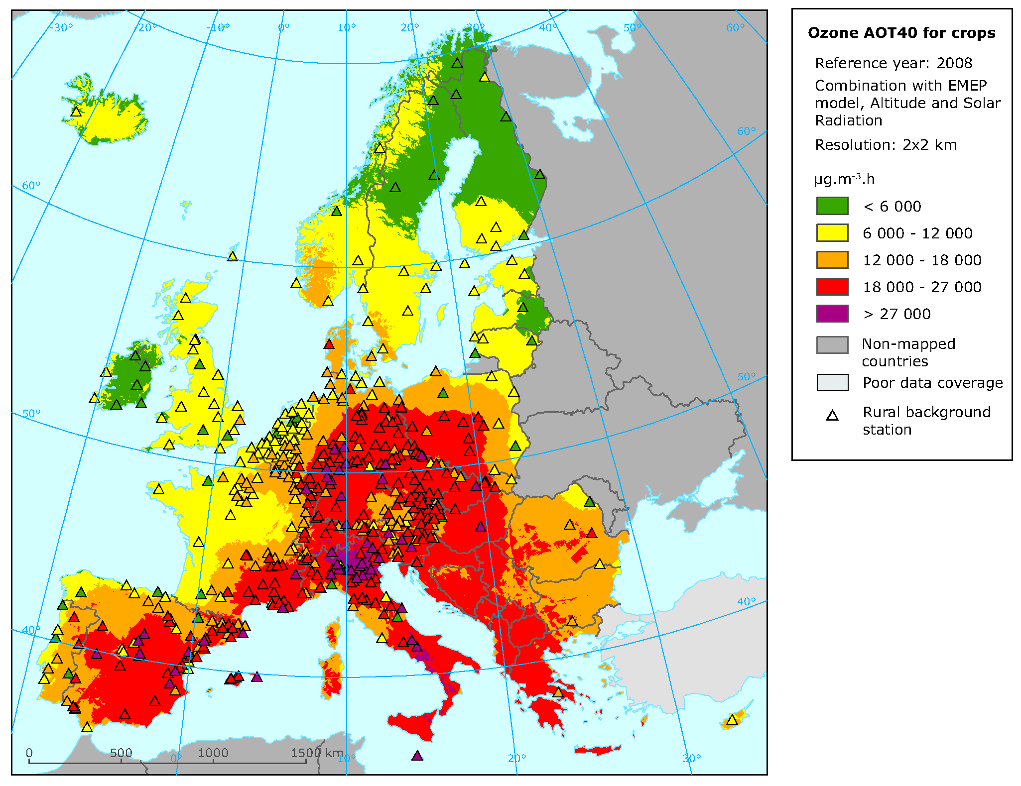 Rural concentration map of the ozone indicator AOT40 for crops, year 2008