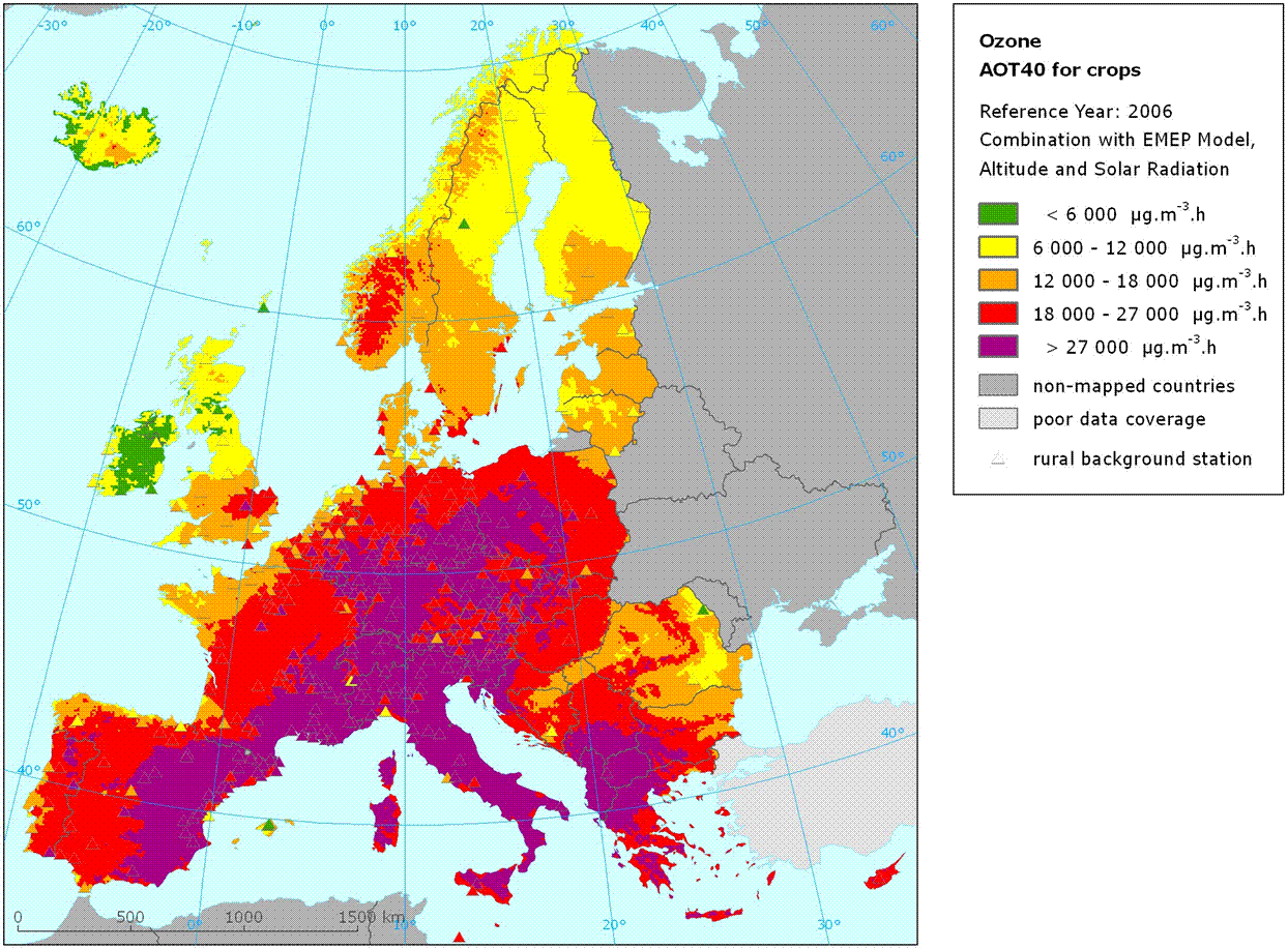Rural concentration map of the ozone indicator AOT40 for crops, year 2006