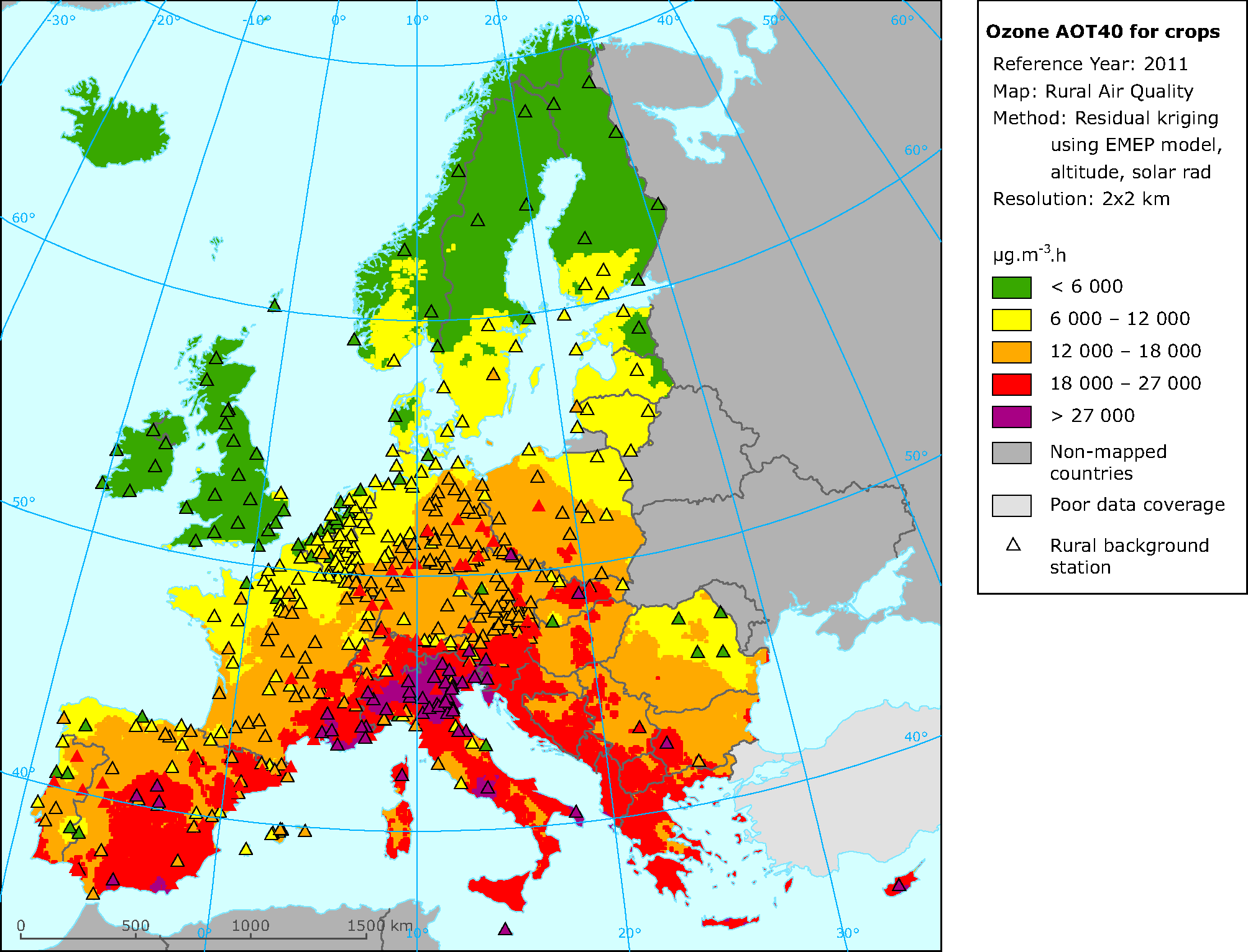 Rural concentration map of the ozone indicator AOT40 for crops in 2011