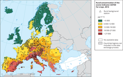 Rural concentration of the ozone indicator AOT40 for crops in 2014