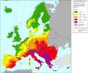 Rural concentration map of the ozone indicator AOT40 for crops, year 2007