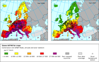 Rural concentration map of the ozone indicator AOT40 for crops, 2006 and 2007