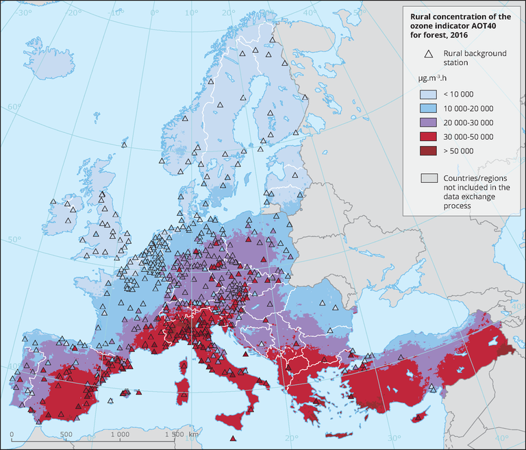 Rural concentration of the ozone indicator AOT40 for forest ...