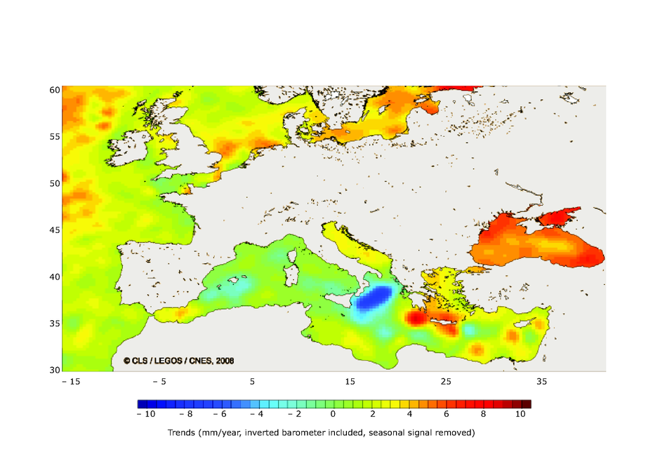 Sea-level changes in Europe October 1992-May 2007