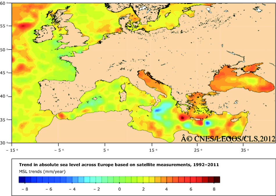 trend in absolute sea level across europe based on satellite measurements 19922011