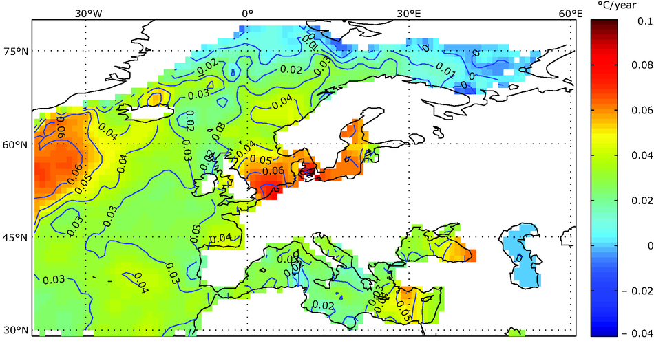 Sea surface temperature changes for the European seas 1982-2006
