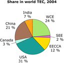 Share in world TEC, 2004