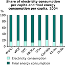 Share of electricity consumption per capita and final energy consumption per capita, 2004