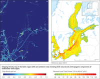 Shipping Density map in the Baltic region and ambient noise including both natural and anthropogenic components of underwater noise