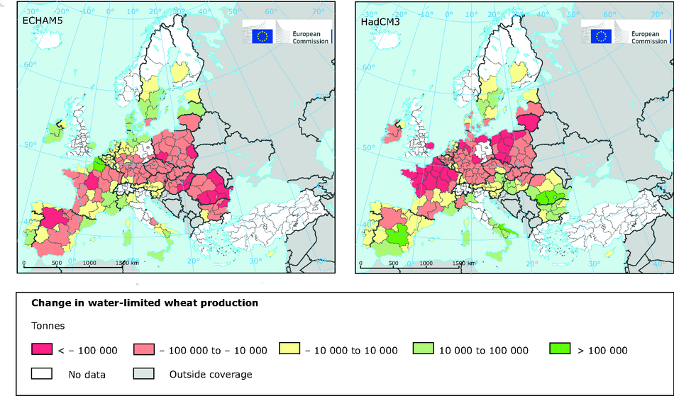 Simulated change in water-limited wheat production
