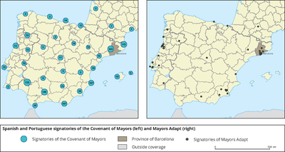 Spanish and Portuguese signatories of the Covenant of Mayors and Mayors Adapt