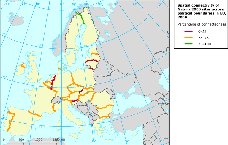 Spatial connectivity of Natura 2000 sites across political boundaries in different parts of the European Union - eps file