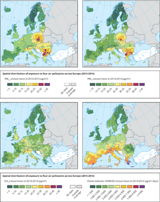 Spatial distribution of exposure to four air pollutants across Europe, 2013-2014