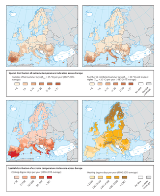 Spatial distribution of extreme temperature indicators across Europe