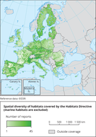 Spatial diversity of habitats covered by the Habitats Directive (marine habitats are excluded)