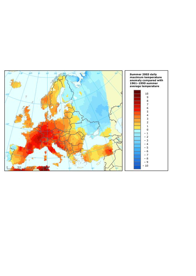 Summer 2003 (June-August) daily maximum temperature anomaly