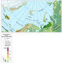 The Arctic biogeographical region physiography (elevation pattern, main lakes and