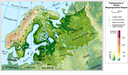 The Boreal biogeographical region physiography (elevation pattern, main lakes and