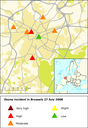 The location and levels of ozone at air quality monitoring stations in Brussels on Sunday 27 July 2008