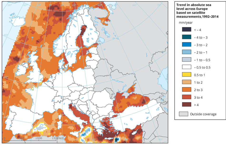 Trend in absolute sea level across Europe based on satellite measurements