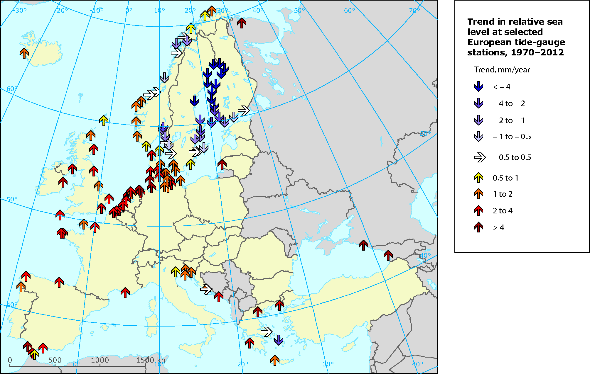 Trend in relative sea level at selected European tide gauge stations