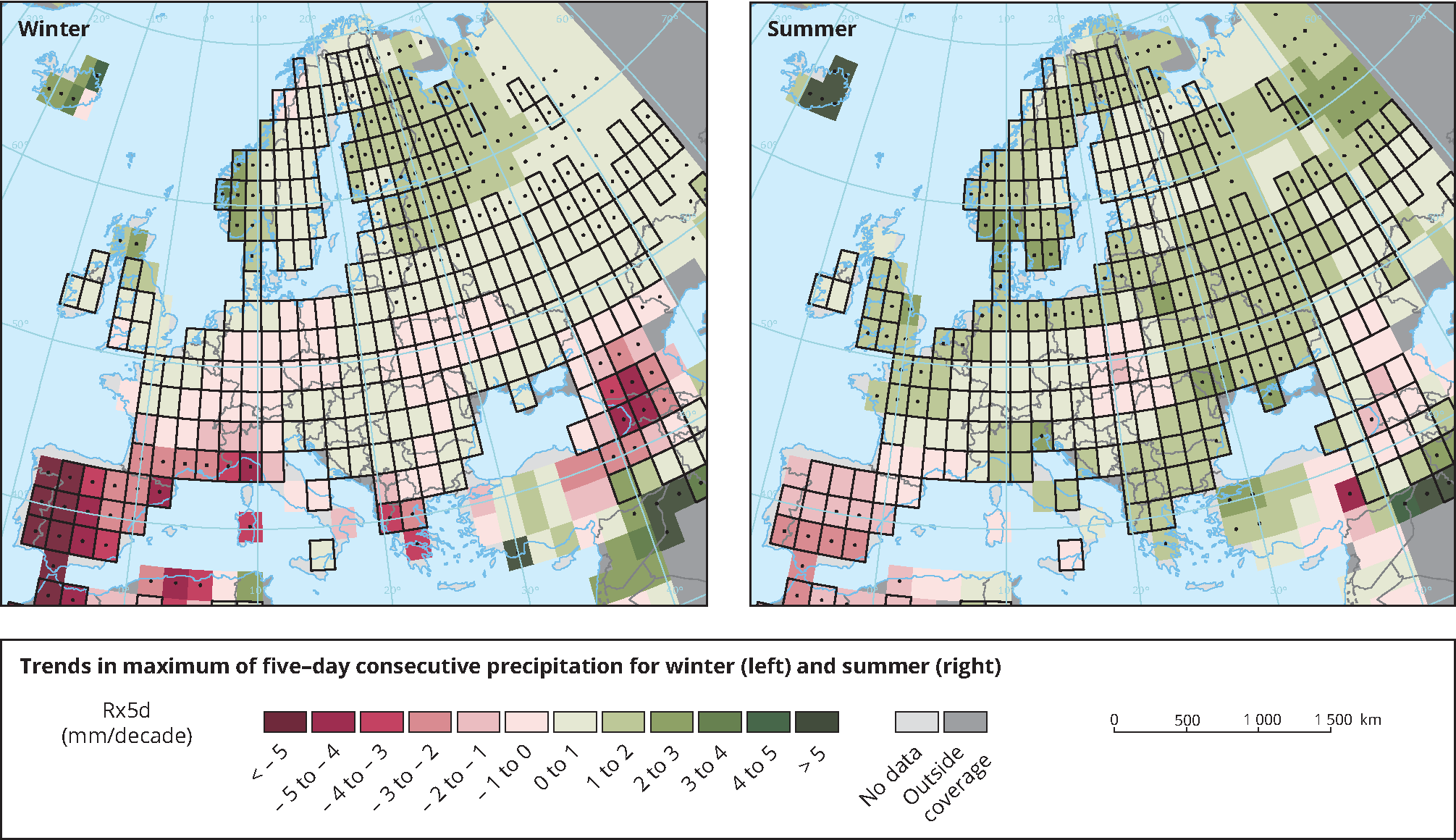 Observed trends in maximum annual five-day consecutive precipitation in winter and summer