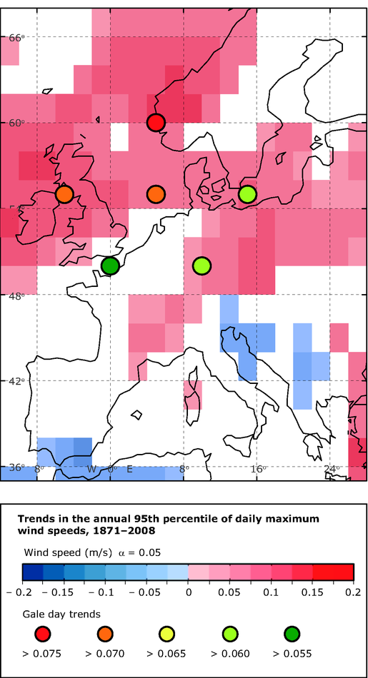 Trends in the extreme wind speeds in the period 1871-2008 based on reanalysis