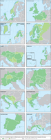 Twelve of fifteen European transnational regions, as defined by the current Interreg V B programme