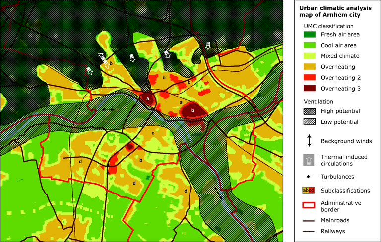 Urban climate analysis map for the city of Arnhem, the Netherlands ...