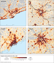 Urban sprawl for six European cities
