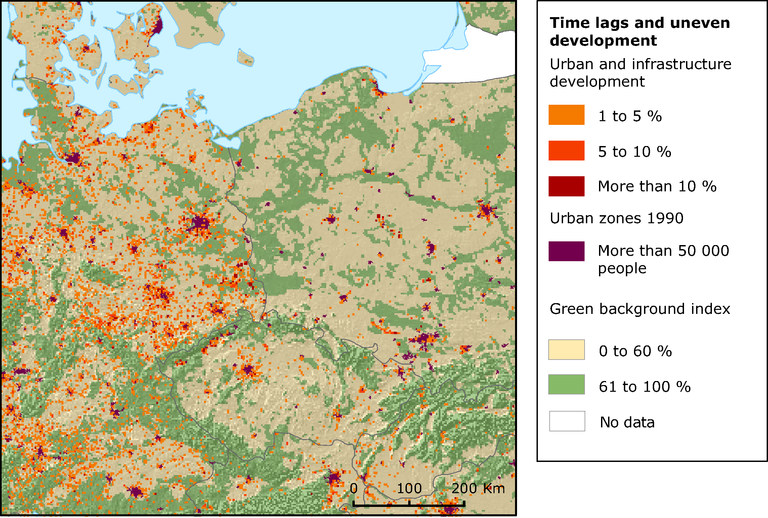 Map Of Germany 2000.Urban Sprawl In Germany Poland And Czech Republic 1990 2000