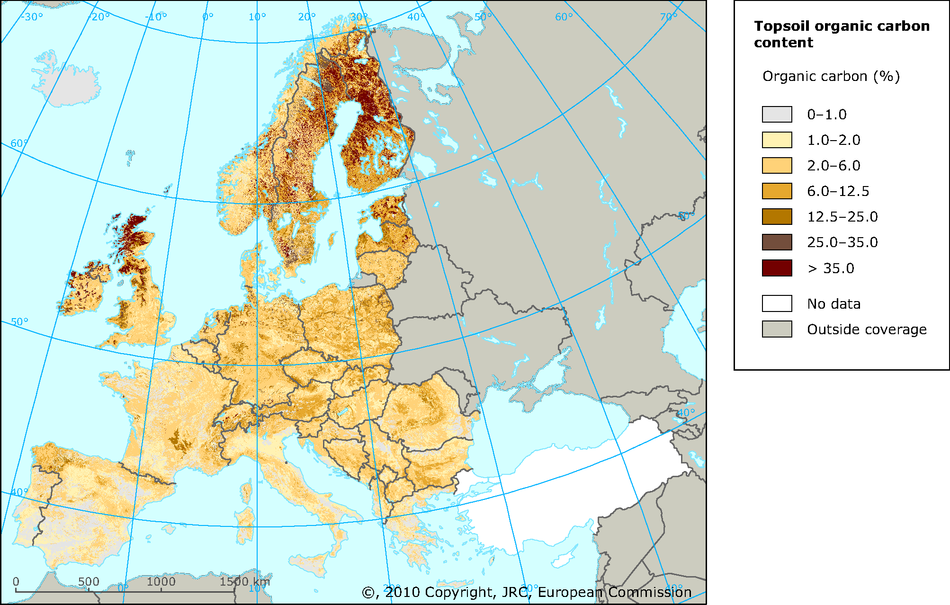 Variations in topsoil organic carbon content across Europe