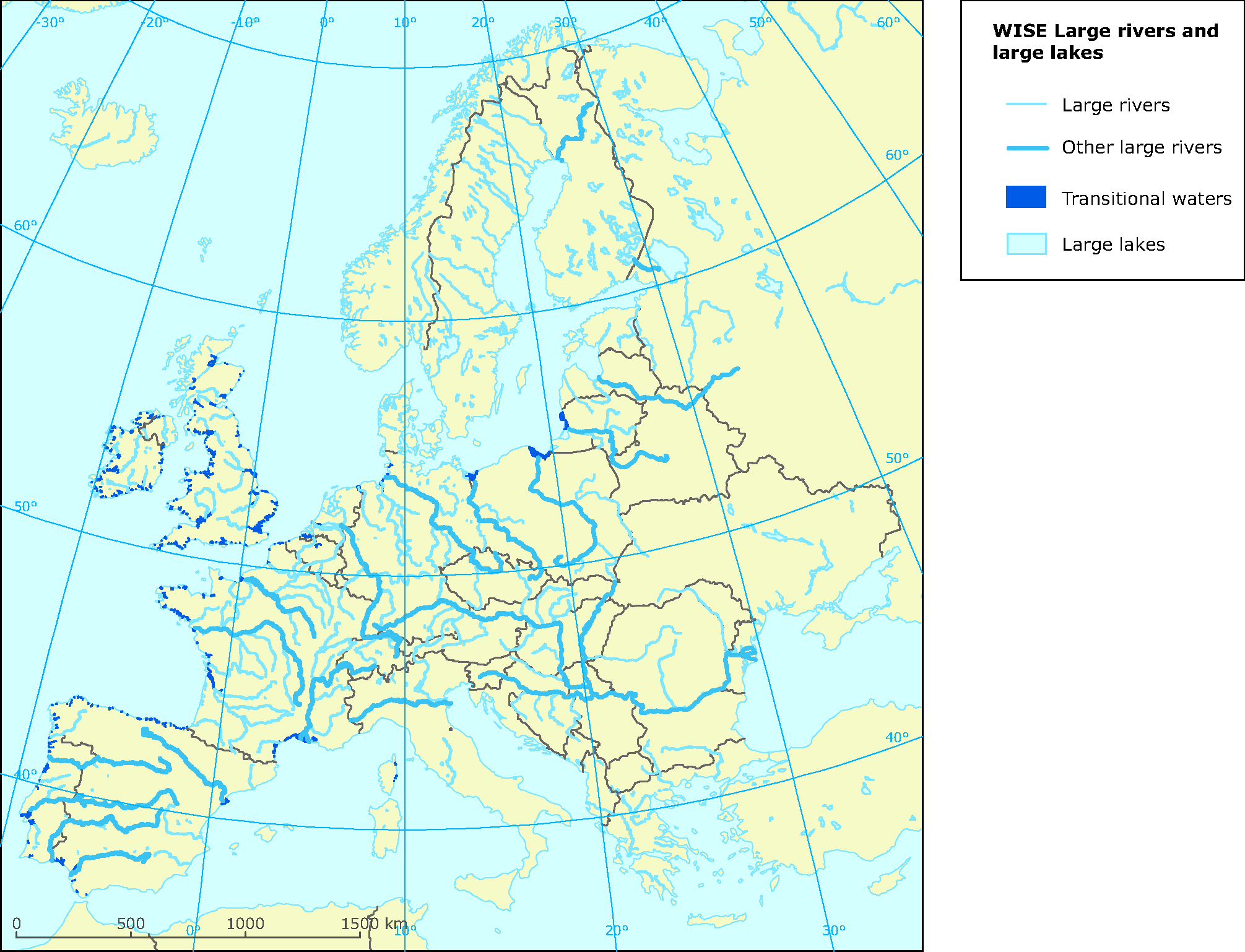 Rivers Map Europe.Wise Large Rivers And Large Lakes European Environment Agency