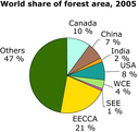 World share of forest area, 2005