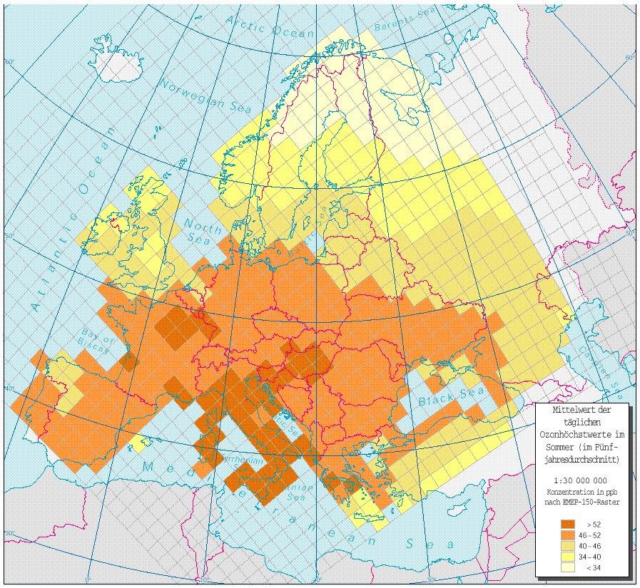 Tägliche Ozonhöchstwerte im Sommer