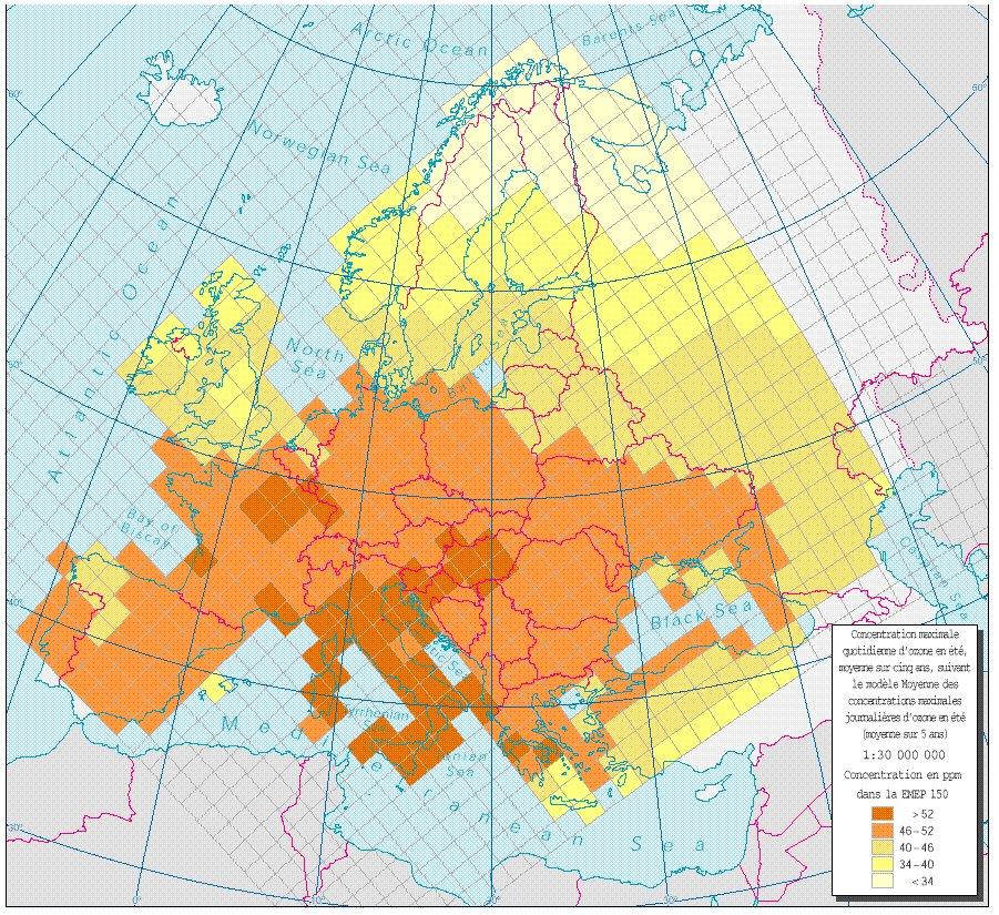 Concentrations maximales quotidiennes d'ozone en été