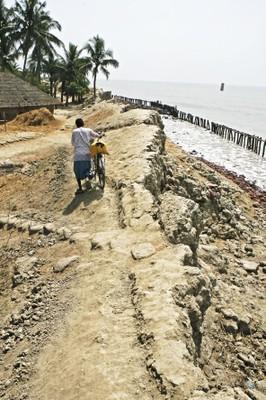 Des digues sur l'île de Sagar