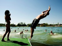 The festival's swimming lake