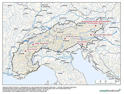 The Alps and the report's case studies map