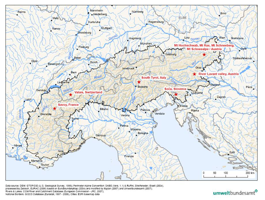 The Alps and the report's case studies