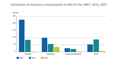 Estimates of mercury consumption in the EU for 2007, 2015, 2021
