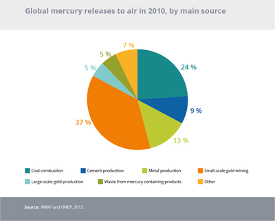Global mercury releases to air in 2010, by main source