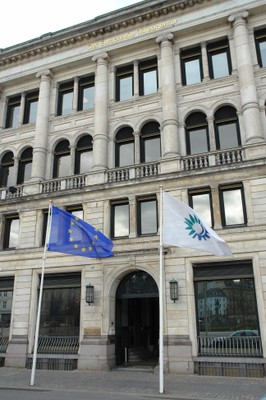 EEA building entrance with flags