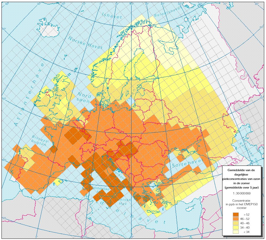 Dagelijkse piekconcentraties van ozon in de zomer