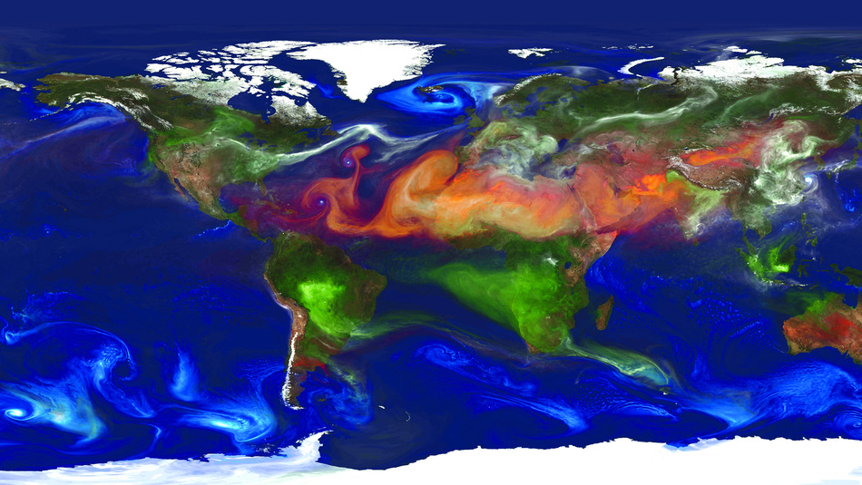 Simulation of atmospheric particles