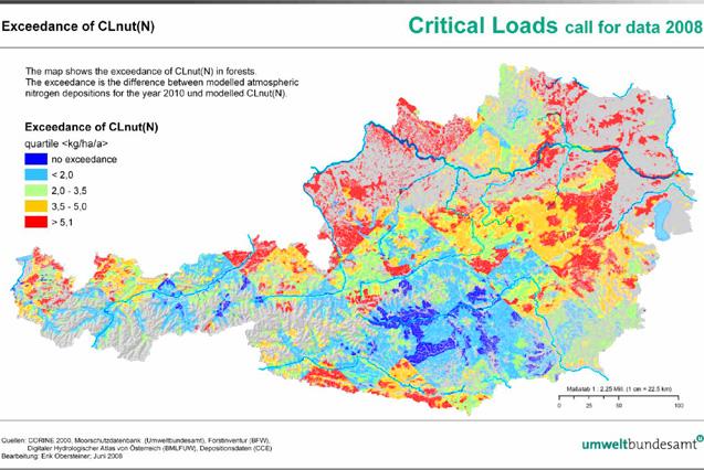 Figure 7: Exceedance of critical loads for eutrophying nitrogen CLnut(N) in Austria (source: Umweltbundesamt 2008)