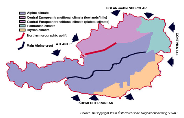 Figure 1: Climatic map of Austria (Copyright 2008 Österreichische Hagelversicherung V VaG, modified)