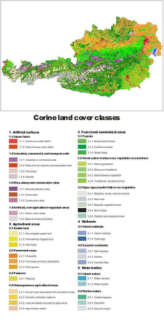 Figure 2:  CORINE Land Cover 2006 (Umweltbundesamt, compiled)