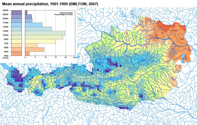 Figure 6: Mean annual precipitation, 1961-1990 (BMLFUW, 2007)